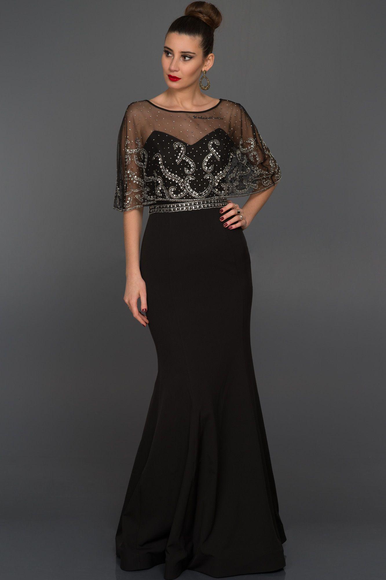 Siyah Uzun Tasli Abiye Elbise S4390 Aksamustu Giysileri Aksam Elbiseleri Elbise