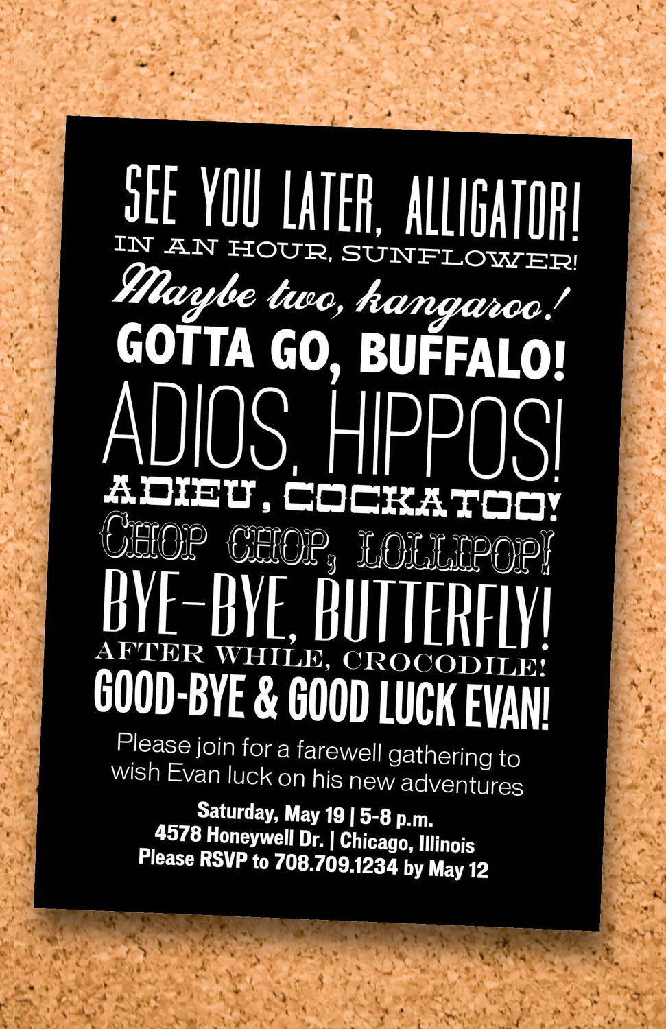 Farewell Party Typography Invitation Custom Printable Digital