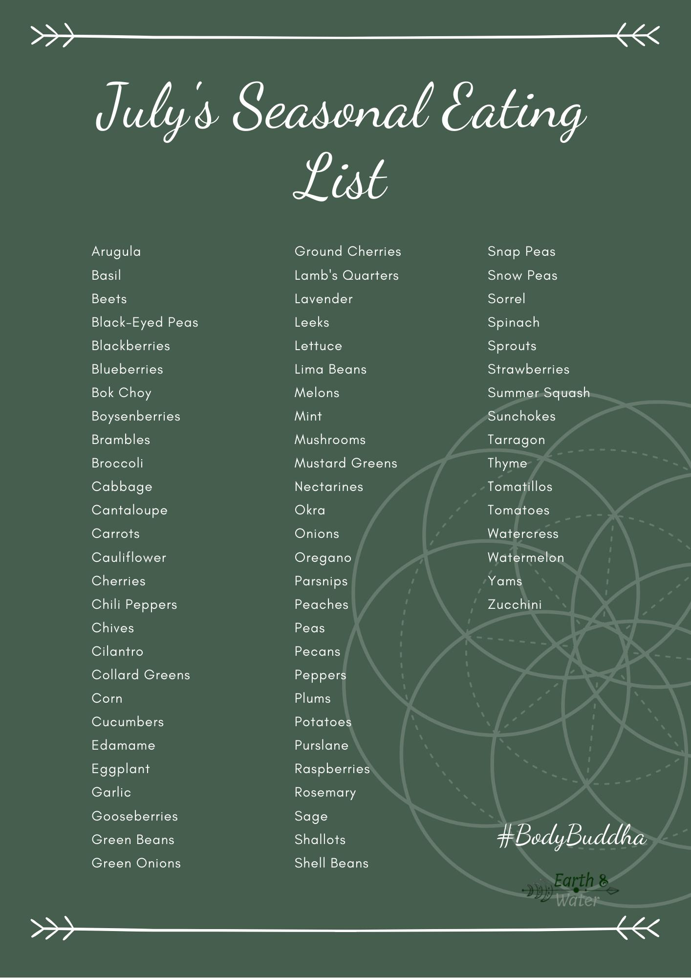 July's seasonal eating list so that you can eat organic ...