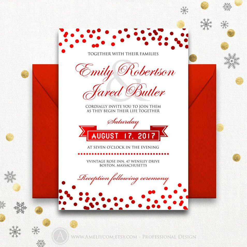 Weddings Red Invitation Printable Confetti Summer Invite Cards ...