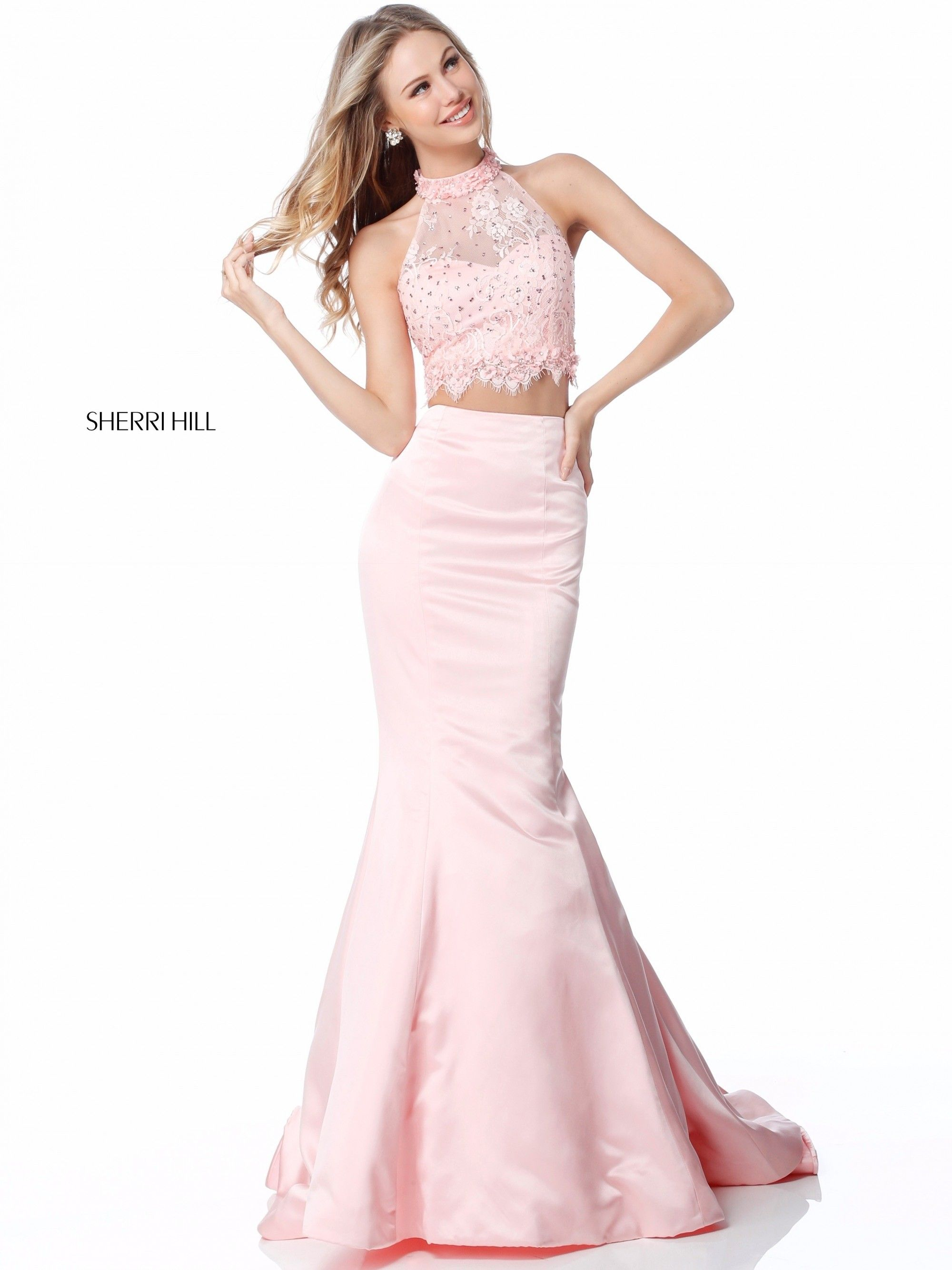 Sherri Hill 51860 Is A Sophisticated Two Piece Mermaid Gown With A Lace Halter Top And Tank Stra Neon Prom Dresses Sherri Hill Prom Dresses Prom Dresses Long [ 2667 x 2000 Pixel ]