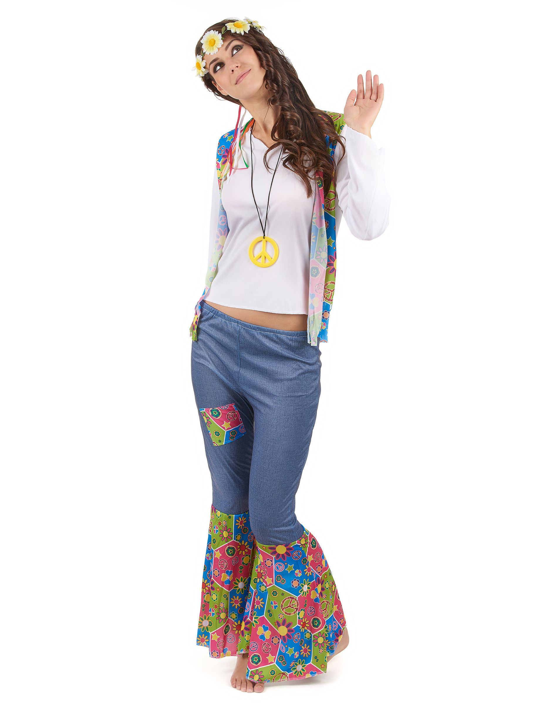 COST-W NEW with Halterneck Top S. Multi-Coloured Vintage Hippy 1970s Costume