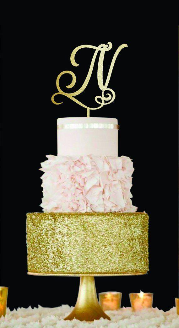 Wedding Cake Topper N letter Wood monogram cake topper Initials ...