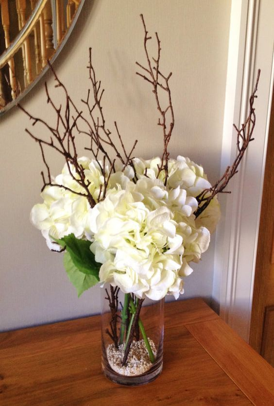 Fake Hydrangea Floral Arrangement With Twigs Set In Still Water Fake Flower Centerpieces Fake Flower Arrangements Dining Room Centerpiece