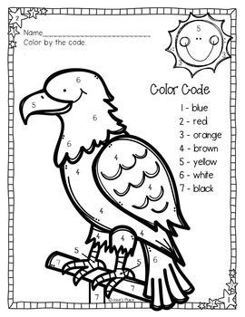 Color By Number Bald Eagle Freebies Two Levels To Choose From Kindergarten Colors Bald Eagle Kindergarten Activities