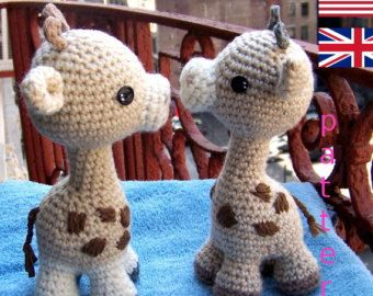 Baby Giraffe with CrochetBow-Instant Download Crochet Pattern-Toy Giraffe-Amigurumi Giraffe-DIY Crochet Toy-Stuffed Toy Animal-Small Giraffe #stuffedtoyspatterns