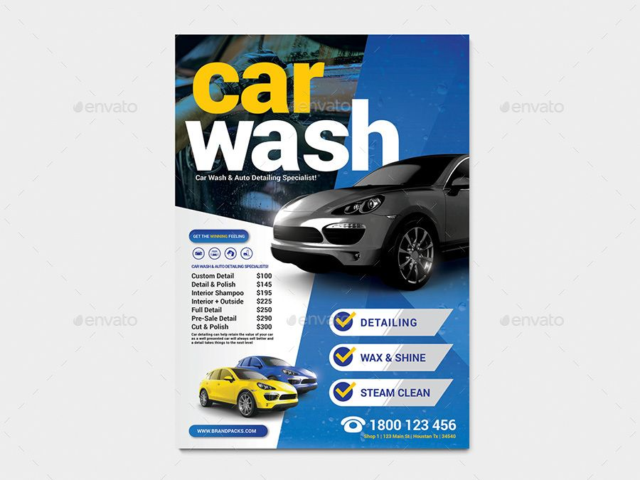 Car Wash Poster / Flyer Template Car wash posters, Car