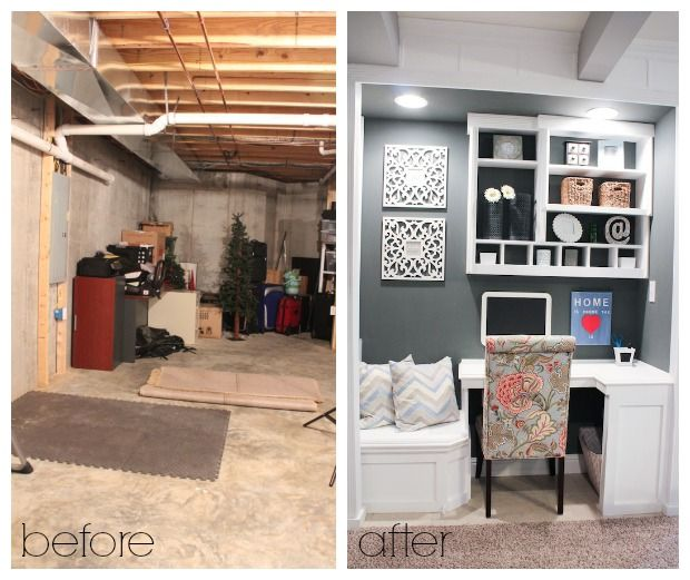 Custom Built-In For Basement Before & After
