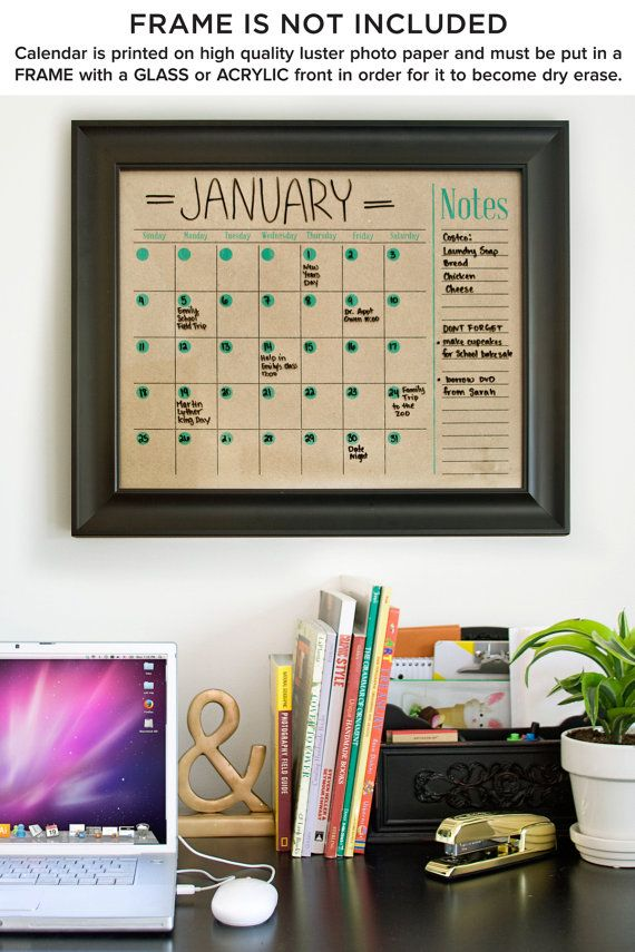 Calendar Horizontal Family Planner Wall Calendar by BlissNotions