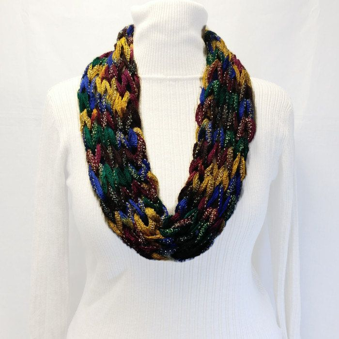 Multi Color Infinity Scarf, Knit Yarn Necklace, Green Blue Burgundy ...
