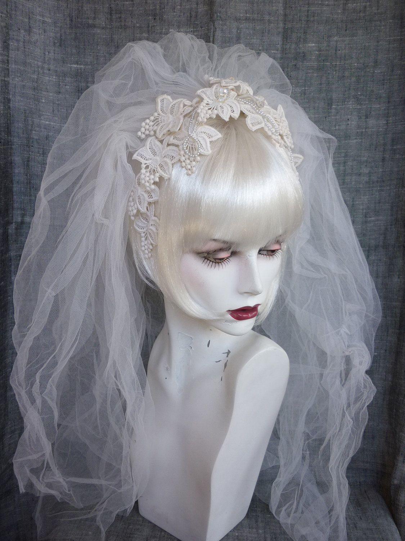 5738fd0fc2f9b Kate s veil Vintage Bridal Veil Lace Flower Headband 70s   80s.  68.00