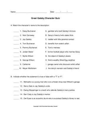 The Great Gatsby Character Quiz With Answer Key Literature
