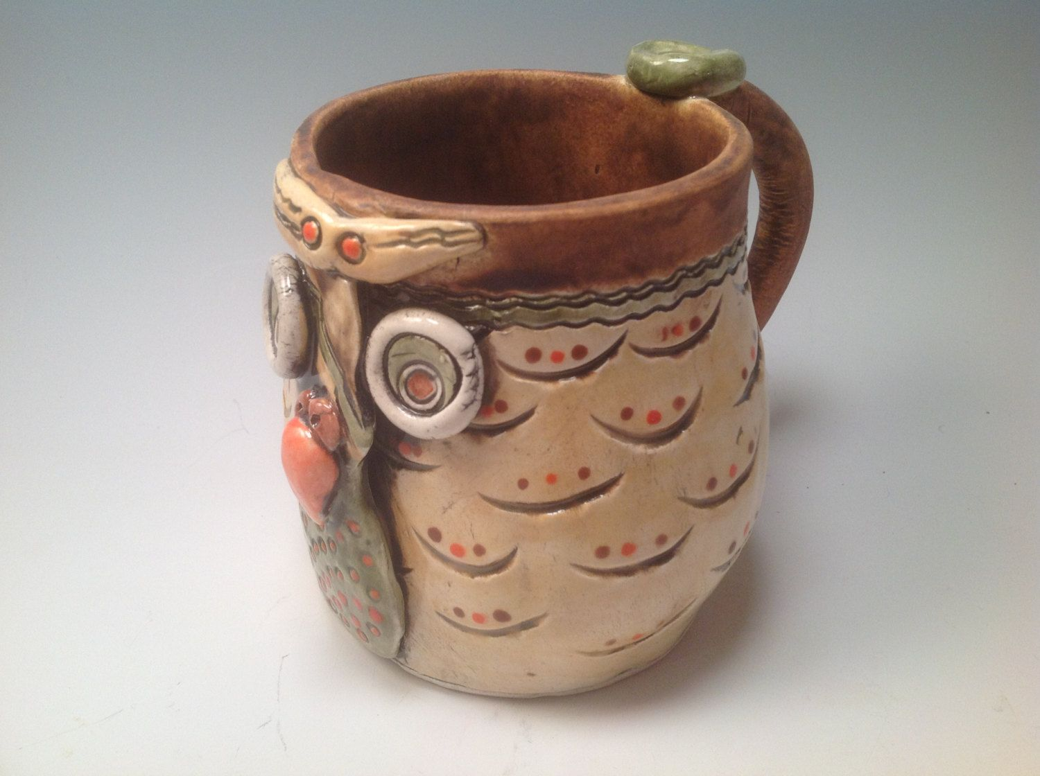 Owl Ceramic Mug Coffee Mug Owl Mug Owls Large Mug Handmade Mug Coffee Cup