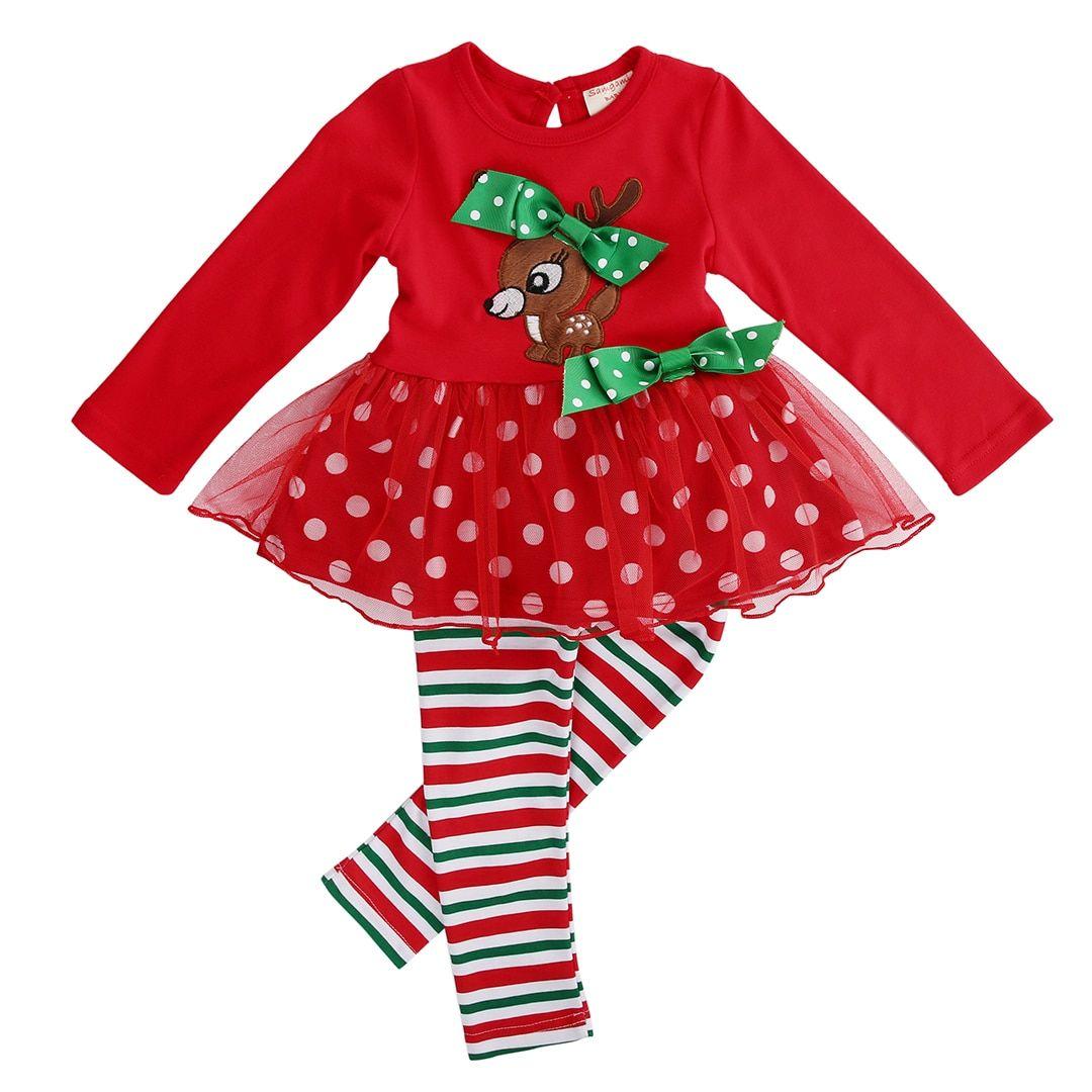 c59c2d39cd Christmas 2 Pcs Infant Baby Girls Xmas Deer T-shirt Lace Tops+Long Pants  Leggings Outfits Set 1-6Y Kids Girl Clothing