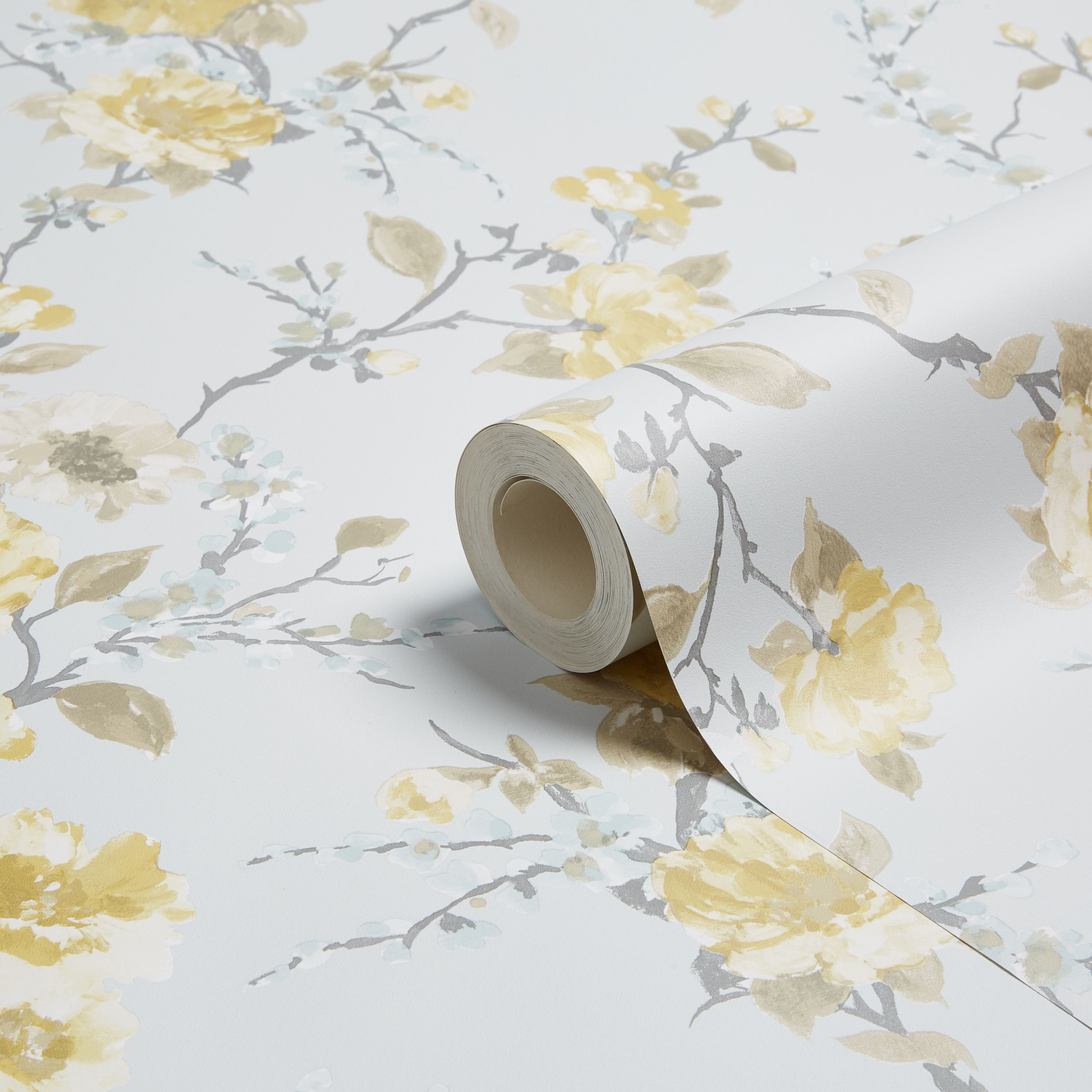 K2 Lucy Duck Egg Amp Yellow Floral Wallpaper Departments Diy