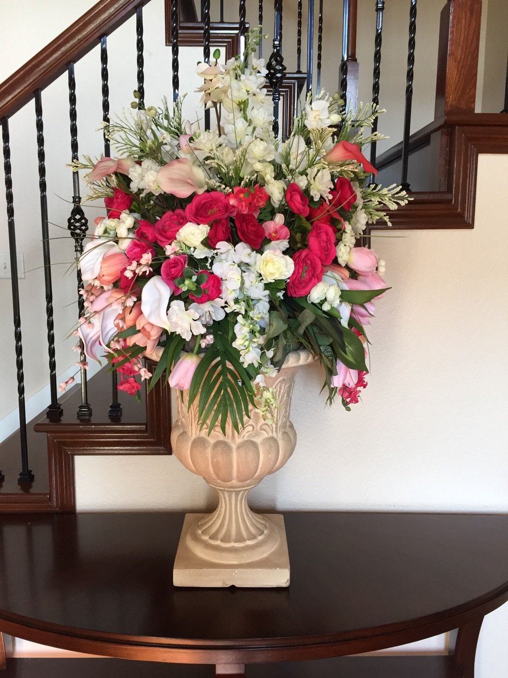 Foyer Table Floral Arrangements : Cascading floral arrangement elegant wedding centerpiece