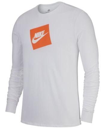 929b758d Nike Men's Sportswear Futura Shoebox Logo Long-Sleeve T-Shirt - White 2XL