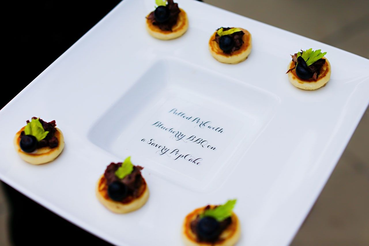 Pulled pork with blueberry BBQ on a savory popcake. #caterer #Indianapolis  Amy Nick's CANAL 337 #Indianapolis #Wedding #Reception