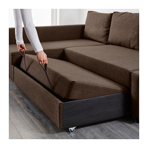 Friheten sofa bed with chaise skiftebo brown skiftebo for Brown chaise sofa