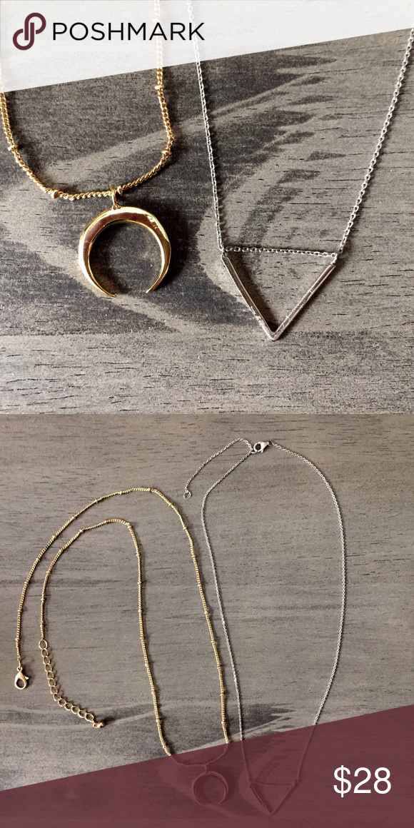 """Delicate Edgy Necklace Lot Sterling Silver & Gold 1) 18k Gold over Sterling Silver Crescent on a 18"""" gold alloy Satellite chain 2) Sterling Silver """"V"""" arrow on a 18"""" Sterling Silver chain. Both are adjustable in length. Excellent condition. No wear on either piece. Guessing brand of the Sterling piece. It's very much like UO style. Urban Outfitters Jewelry Necklaces"""