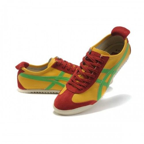 2012 Asics Onitsuka Tiger MEXICO 66 Deluxe Mens Shoes Yellow Green Red