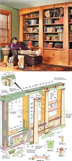 Mission Oak Built In Bookcase Plans Furniture And Projects Woodarchivist