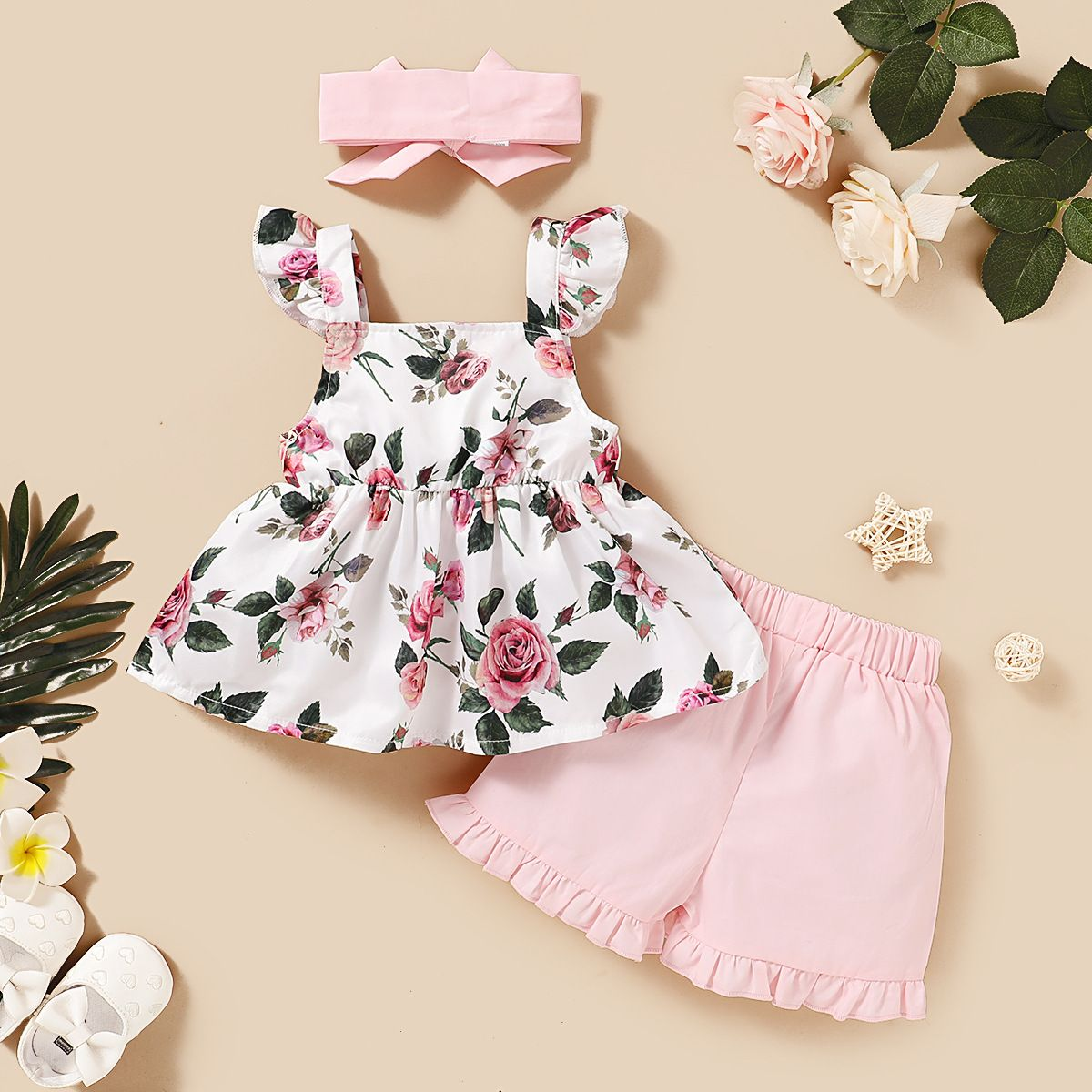 Patpat 3 Piece Allover Flutter Sleeve Top And Shorts Set In 2020 Baby Girl Frocks Flutter Sleeve Top Girl Outfits