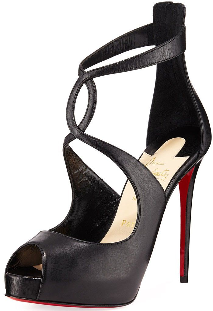 82b00a9a1e5 Black Leather Christian Louboutin Rosie Peep Toe Pumps With Curvy Criss- Cross Straps   Keyhole Detail