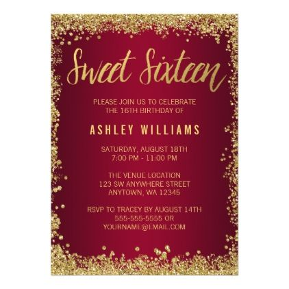 Sweet 16 Burgundy Gold Glitter Birthday Invitation