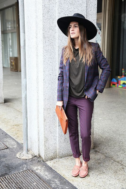 Loving this look from fashion blogger Am-Lul! burgundy pants, plaid blazer, tee shirt, hat, and clutch! #streetstyle