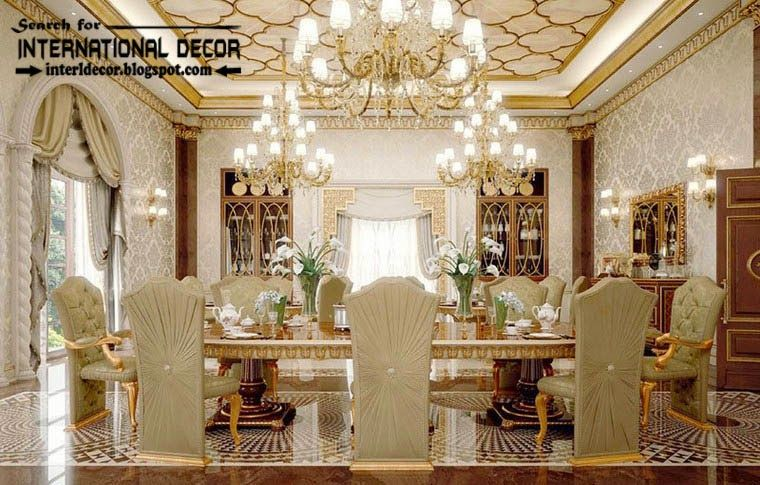 Luxury Classic Dining Room Interior Design Decor And Furniture Ceiling