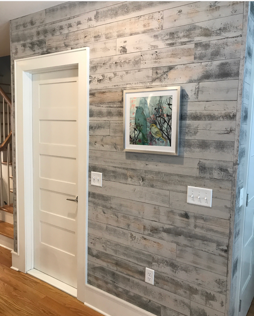 Stick On Shiplap In Reclaimed Weathered Wood White Brings The Outside In Diy Reclaimed Wood Wall Stick On Wood Wall Flooring On Walls