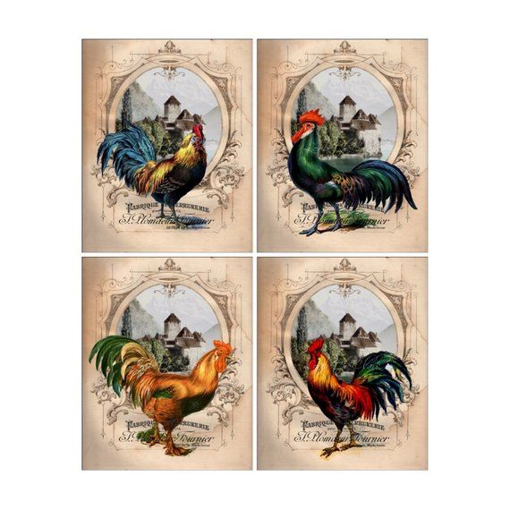 aac7870528 Roosters Wall Decor Set - French Chateau Roosters - 4 Art Prints, Country  French Farmhouse Kitchen D