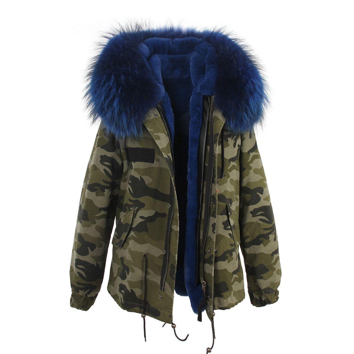 Camouflage Blue Fur Hooded Parka | Winter jackets, Fur