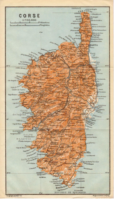 1914 Corse Carte Antique Corse Corsega France Etsy Map Of The Mediterranean Corsica Bastia