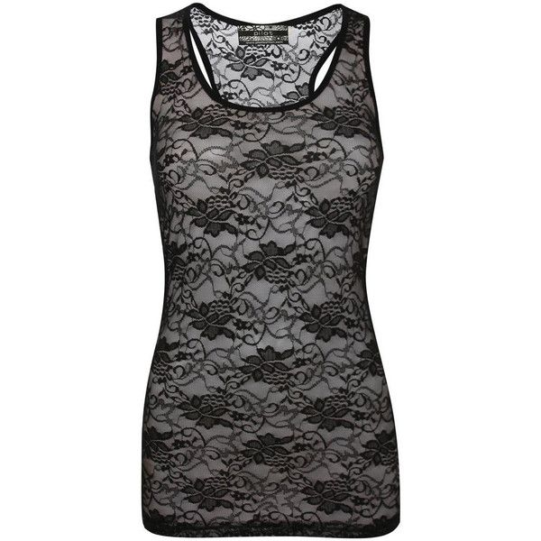 Pilot Tania Floral Lace Print Vest Top ($14) ❤ liked on Polyvore featuring tops, black, black singlet, black top, black floral top, scoopneck top and floral tank