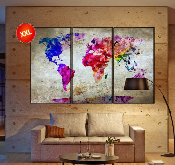 world map canvas wall art print prints on canvas large world map watercolor art work artwork office decor