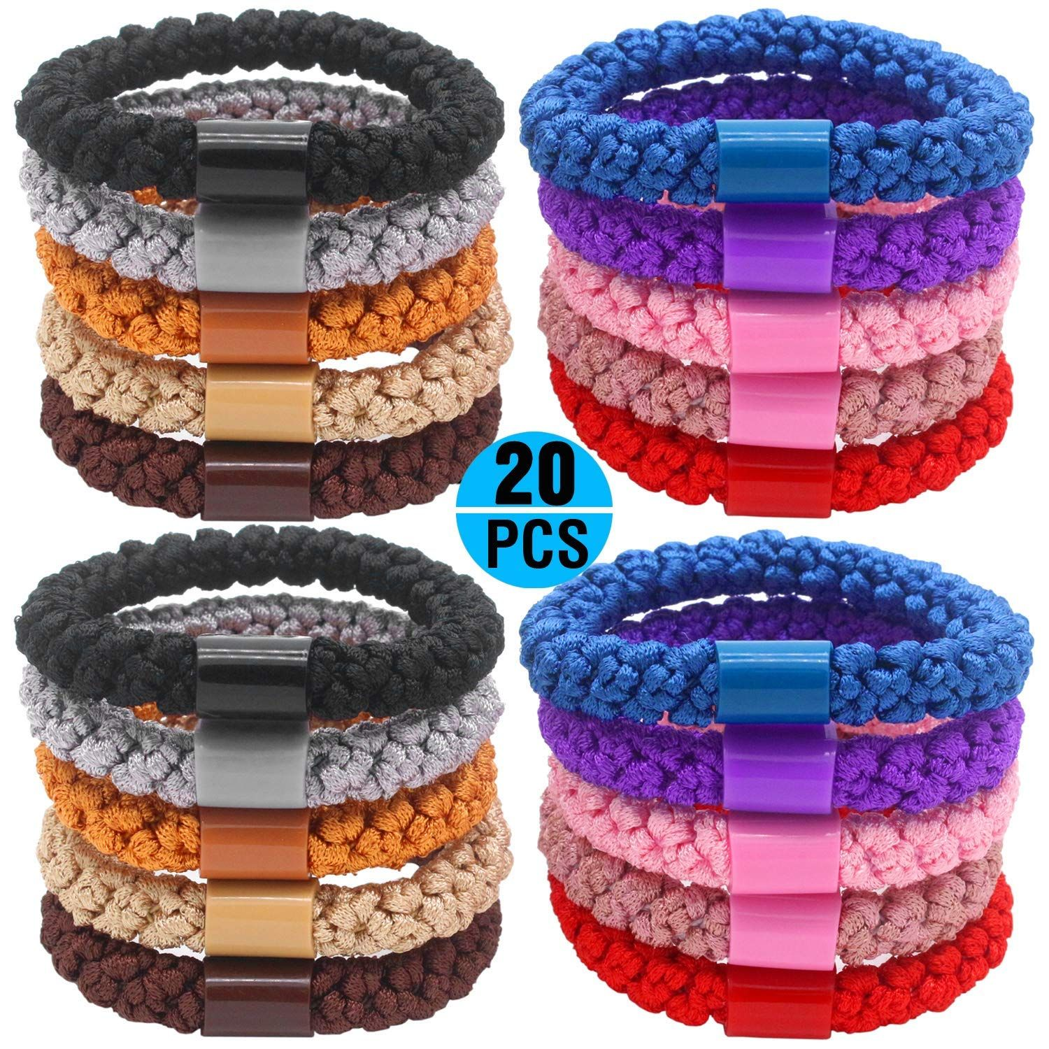 Fashion and Lifestyle 20 Pcs Large Hair Ties Pony Ponytail Holders for Thick  Hair - Stretchy Elastics Hair Bands Boutique Woven Ropes for Women and  Girls 71d93a903d1