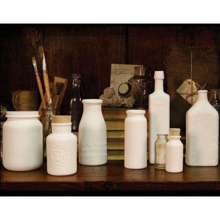 bone china bottles cast from vintage glass bottles