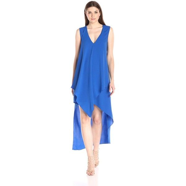 Adelyn Rae Women's High Low Dress ($53) ❤ liked on Polyvore featuring dresses, v neck shift dress, blue high low dress, summer shift dresses, high low summer dresses and blue dress