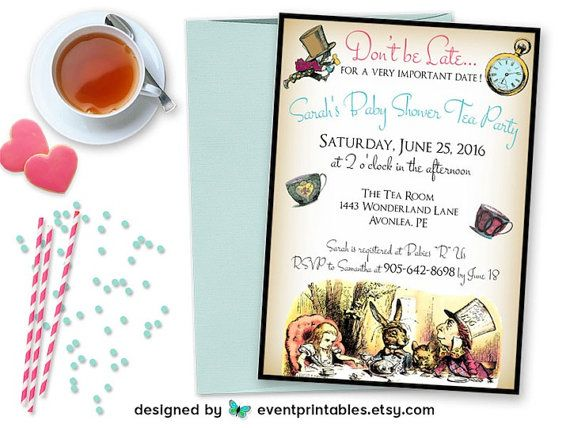 Alice in wonderland invitation baby shower birthday bridal shower alice in wonderland printable invitation baby shower invite birthday bridal shower diy filmwisefo