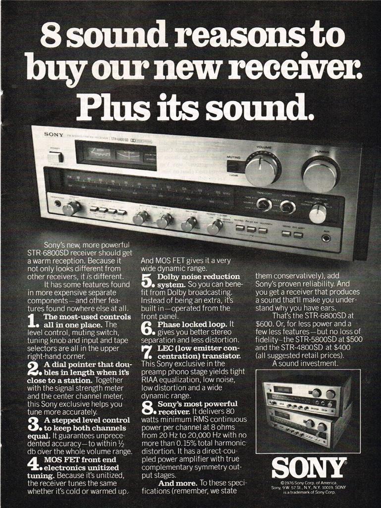 1976 Sony STR-6800SD Stereo Receiver Vintage Electronics