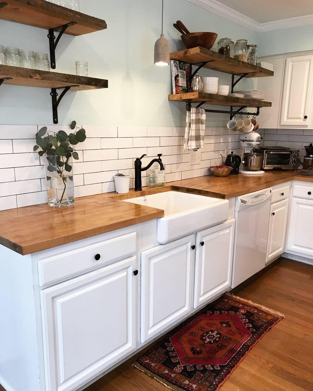 Live edge open shelving Farmhouse sink/butcher block