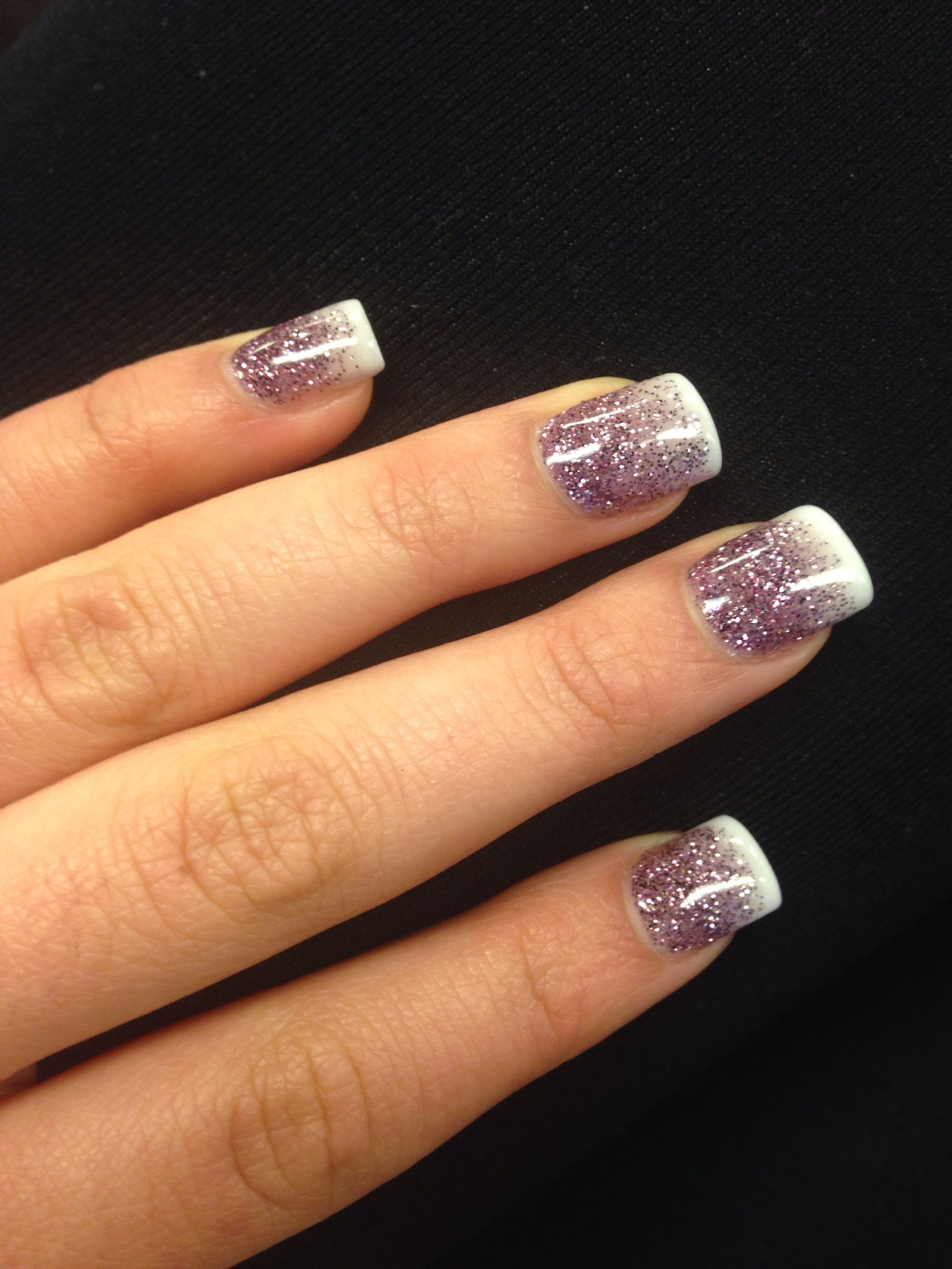Purple Glitter Ombre French Tips With Images Ombre Nails