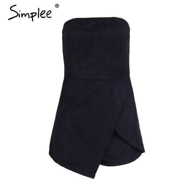 8ee91a8306b5 Simplee Strapless leather suede jumpsuit romper Women slim pink winter  irregular short playsuit Elegant autumn female