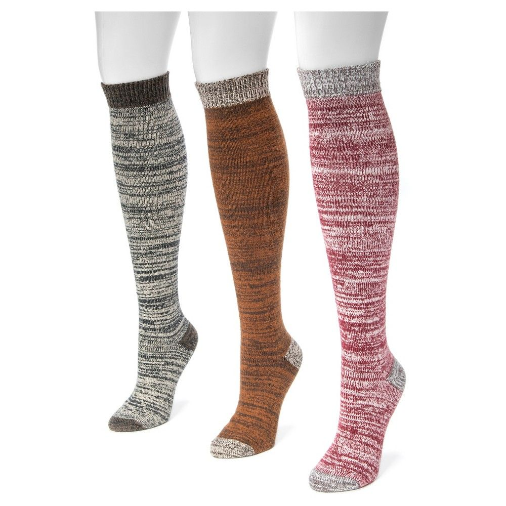 Muk Luks Women's 3 Pair Pack Microfiber Knee High Socks - Multicolor One Size Fits Most, Multi-Colored