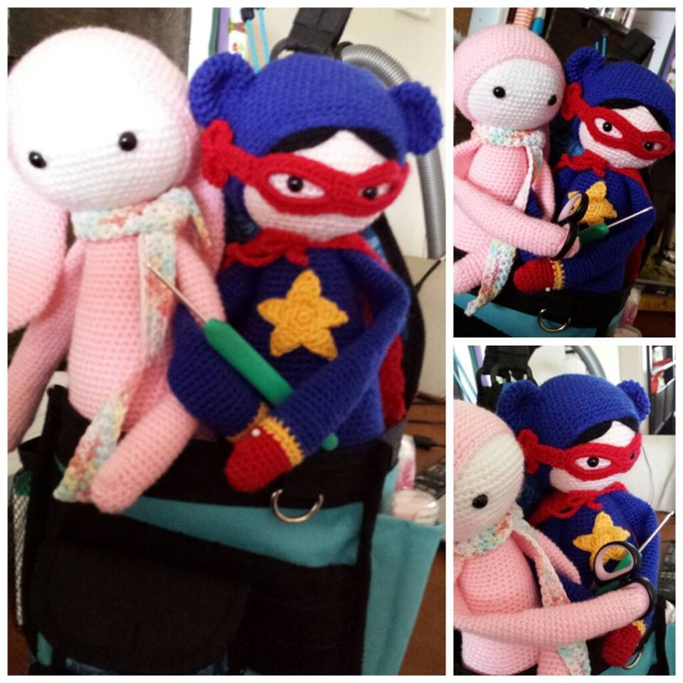 RITA the rabbit and Supergirl mod made by Suzanne de V. / based on a lalylala crochet pattern