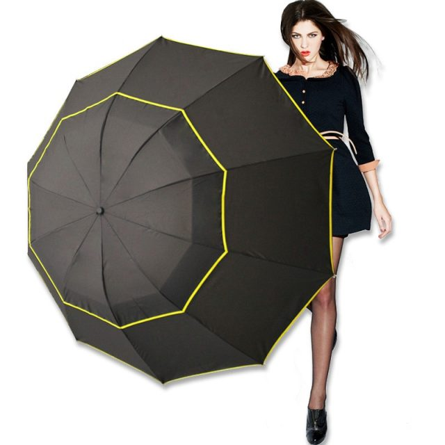 Three Folding Windproof Unisex Large Umbrella | 4Colordress #largeumbrella