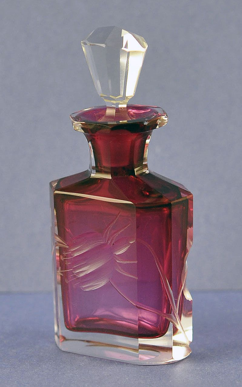 Gorgeous, Vintage, Bohemian, Ruby Cut to Clear Perfume / Scent Bottle with Cut Flowers, Blossoms & Leaves