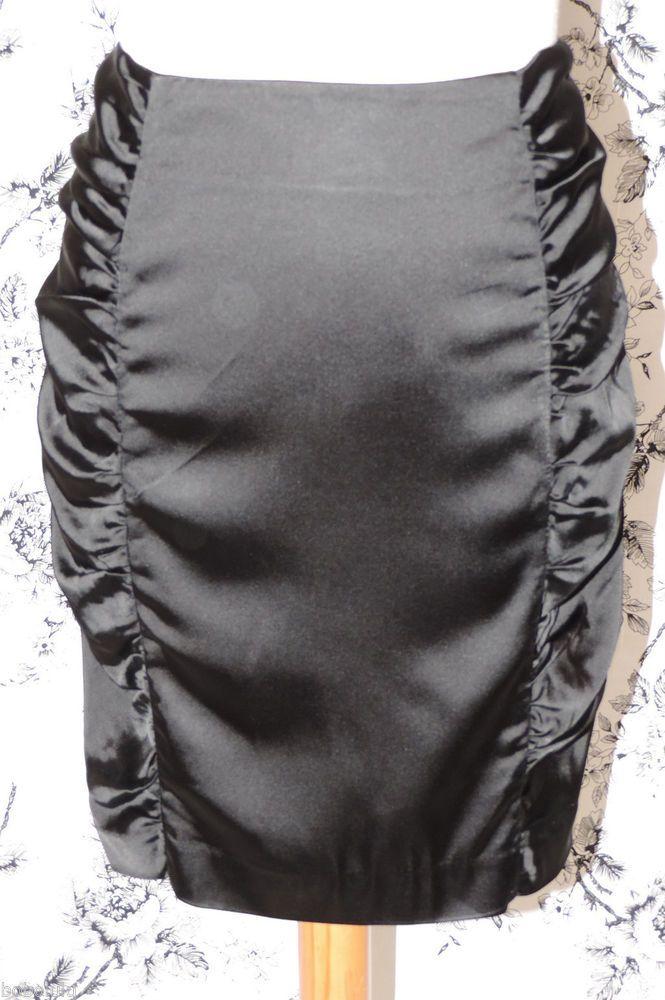 Gothic Black Wiggle Skirt Seductive Satin Sexy Siren SCANDALOUS Femme Fatale 12